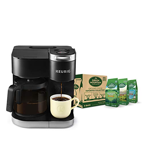 Keurig K-Duo Coffee Maker, Single Serve K-Cup Pod and 12 Cup Carafe Brewer, with Green Mountain Ground Coffee Favorites Collection, 12 Oz Bagged, 3 Count