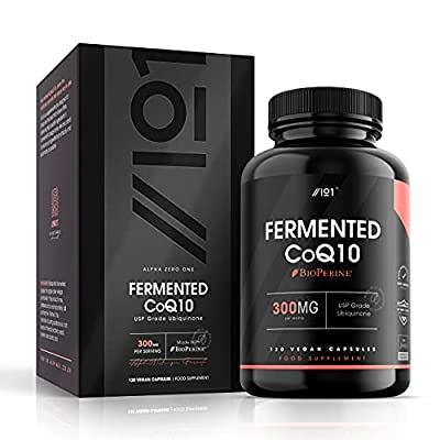Fermented CoQ10 with BioPerine® - 300mg - USP Grade Ubiquinone - Naturally Fermented Co Enzyme Q10, 120 Vegan Capsules - No Additives — Non-GMO.