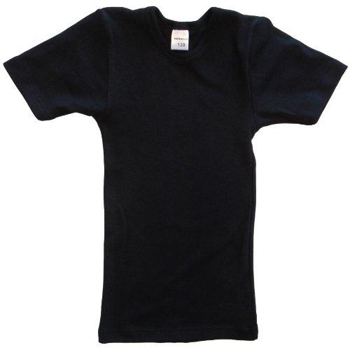 HERMKO 2810 Kinder halbarm Shirt aus 100% Bio-Baumwolle, Kurzarm Unterhemd für Mädchen und Knaben, Farbe:schwarz, Größe:104