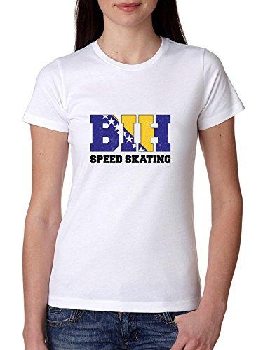 Bosnisch schaatsen - Winter Olympisch - BIH Vlag Dames Katoen T-Shirt