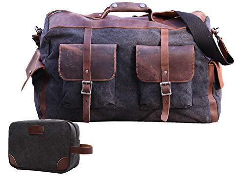 IBLUE Travel Duffel Bags For Men Women Waterproof Canvas Outdoor Sport Handbag With Wet Pocket Shoulder Strap, D1094 (black)