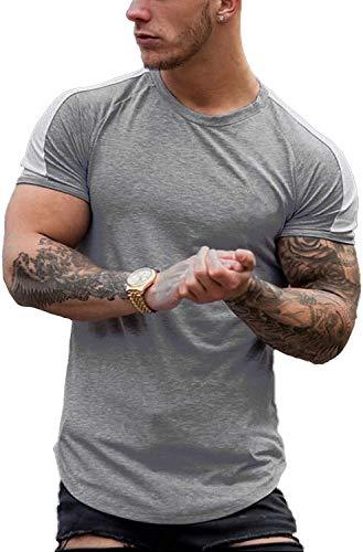 Coshow Camiseta para hombre de 3 líneas para culturismo, gimnasio, manga corta, estilo hipster, color gris, XXL