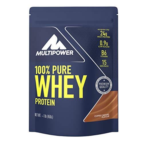 Multipower 100% Pure Whey Protein – wasserlösliches Proteinpulver mit Coffee Caramel Geschmack – Eiweißpulver mit Whey Isolate als Hauptquelle – Vitamin B6 und hohem BCAA-Anteil – 450 g