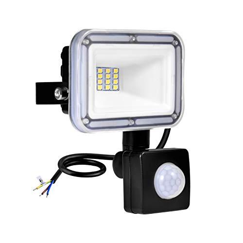Focos LED Exterior 10W 800LM Proyector LED con Sensor de Movimiento 6500K Blanco Frío, Impermeable IP67 Reflector LED Luces de Seguridad para Patio Jardín Garaje [Clase de eficiencia energética A+]