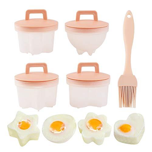 4 cuociuova uova in poché, senza BPA, portauova, con spazzola per olio, non appiccicosa, rosa perfetta per colazione