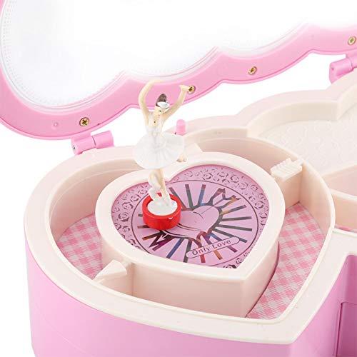 KUIDAMOS Caja de Tesoros minúsculos, Caja de música portátil de Bailarina de Doble corazón, joyero Musical para niñas pequeñas R para decoración de Dormitorio(Pink)