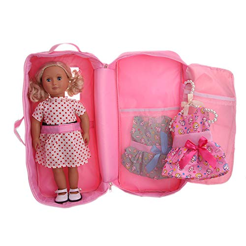 Doll Travel Suitcase Storage Bag Wardrobe Accessories Bag For 18 inch Doll PK Fun Puzzle Learning Kids Birthday Educational Best Gift for Children Boys, Girls, Toddlers Children's Day