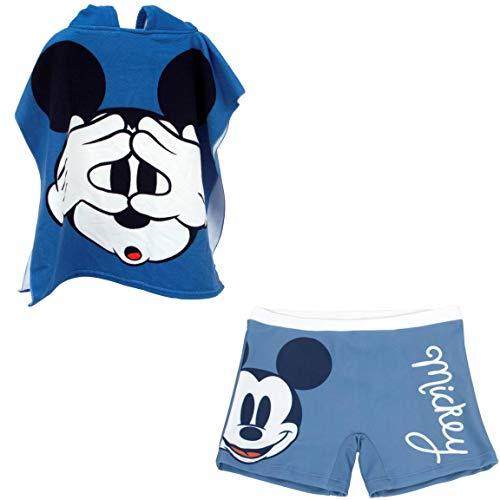 Bañador Mickey Mouse Tipo Bóxer para niños + Poncho Mickey Mouse Toalla para Playa o Piscina (6 años, Modelo 2)