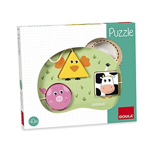Goula - Puzzle 3 animales granja, Encajable de madera para bebés a partir de 10 meses