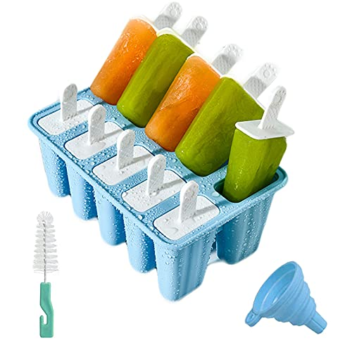 Moldes para Helados de Silicona, Reutilizable Molde para Hacer paletas para Hacer Helados, 12 Juego de Moldes para polos--10 Moldes de helado, 1Plegable Embudo,1cepillo de limpieza,libres de BPA