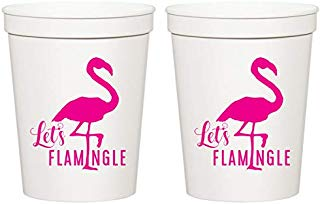 Let's Flamingle, White Stadium Plastic Cups - Birthday Party Cups or Bachelorette Party Cups (10 cups)
