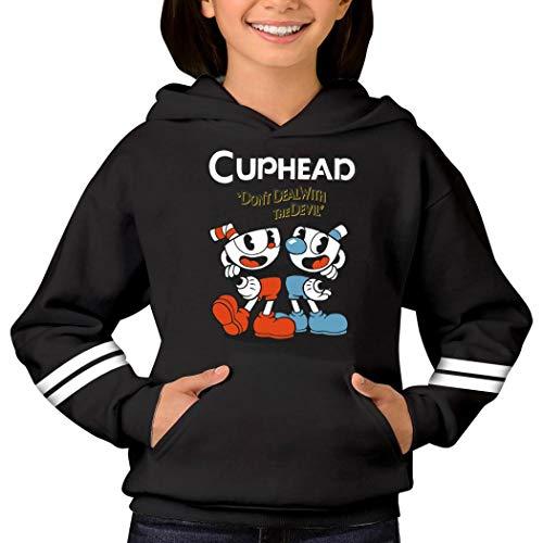 Youth Cuphead Tops Hoodies Fashion Teenager Hooded Sweatshirts for Kids Black XL