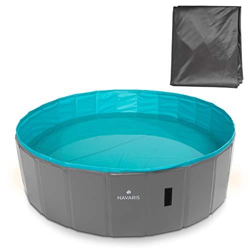 Navaris Hundepool Planschbecken faltbar - Hunde Pool aus Kunststoff - Agility Hundespielzeug - Hundeschwimmbecken - Grau Petrol - versch. Größen