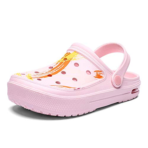 WTFYSYN Sandalias De Ducha,Zapatos con Agujeros Baotou, Zapatillas de Camuflaje con cojín, Zapatos de Playa Antideslizantes-Pink_44,Casa de Mujer Verano Baño Antideslizante