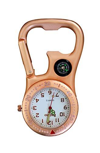 Entino Clip-Carabiner Fob Reloj con brújula y abrebotellas para médicos Enfermeras paramédicos...