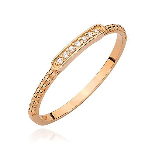 Anillo para mujer de oro amarillo 585 de 14 quilates, diamantes naturales, 20, Diamond,