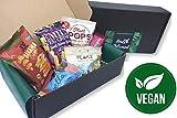 Vegane Premium Snack-Box: 6 Snacks ,bunter Mix aus Riegeln, Chips, EnergyBalls, Nüssen - Vegane Geschenk Box- Vegane Süßigkeiten für unterwegs, in der Schule, beim Sport oder im Büro.