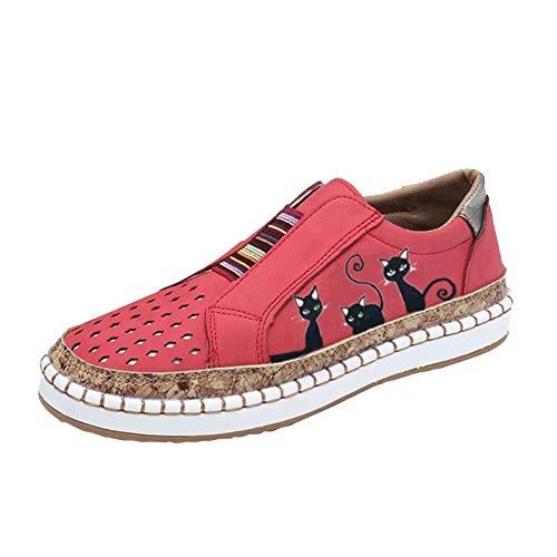 URIBAKY - Zapatillas de ocio para mujer, transpirables, para exteriores, para running, correr, fitness, transpirables, zapatillas de deporte, Rosa (rosa), 38 EU