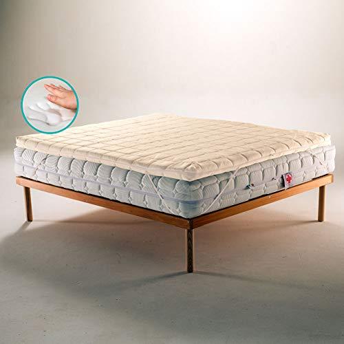 Topper de espuma viscoelástica corrector para colchón o sobrecolchón, ecológico y desenfundable, con tejido de bambú francés, 150 x 190 cm