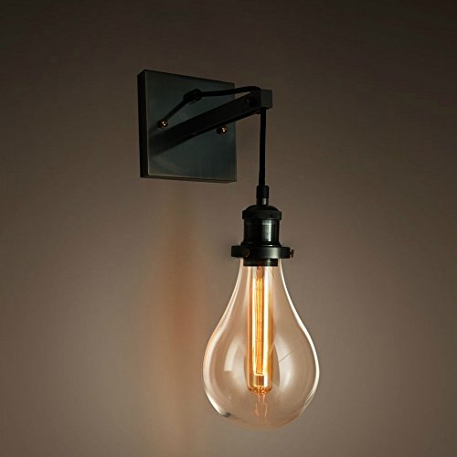 PureLume, retro industrial tear bulb wall light, with glass dome and Edison T18 tube 40 W light bulbs