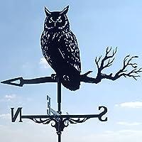 屋根の風見鶏枝の創造的なフクロウの彫刻風見鶏屋外の庭風見鶏錬鉄製の風見鶏ペイントハウスハウステラス芝生、レトロなスタイルの装飾と防錆装飾