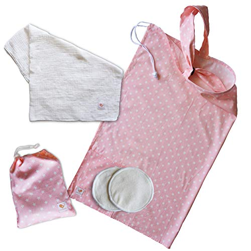 Nursing Cover for Breastfeeding with 2 Pockets - Adjustable Breastfeeding Apron - Matching Carry Bag - 100% Soft Breathable Cotton for Full Cover Feeding w/Attachable Muslin Baby Blanket - Pink