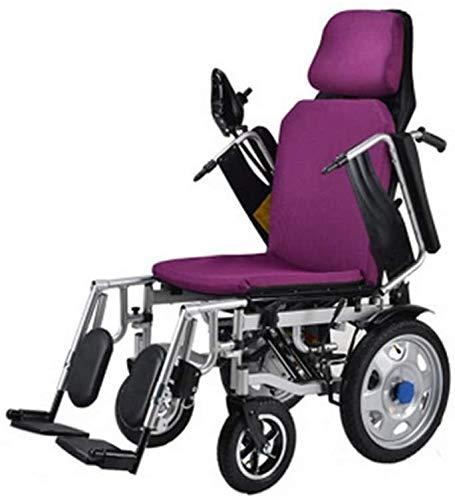 Yuzhonghua Discapacitados en Silla de Transporte aéreo Aprobado Ligero y Compacto de energía móvil Silla de Ruedas asistida, Plegable Silla de Ruedas eléctrica portátil
