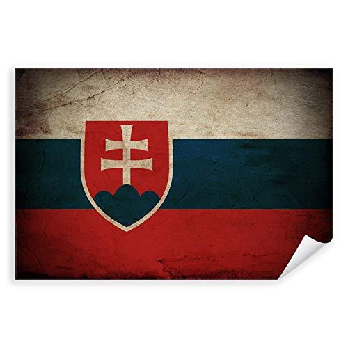 Postereck - 0317 - Vintage Flagge, Fahne Slowakei Bratislava - Unterricht Klassenzimmer Schule Wandposter Fotoposter Bilder Wandbild Wandbilder - Poster mit Rahmen - 29,0 cm x 19,0 cm