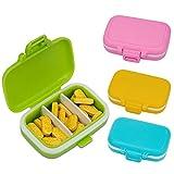AIEX Pilulier Medicaments Journalier de Voyage Pills Box Boîte à Pilules de 3 Compartiments pour Cachets et Vitamines (4pcs)