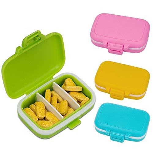 AIEX Pastillero Caja de Medicina Organizador de Pastillas de Plástico Impermeable con 3 Compartimentos (4pcs)