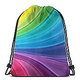 BXBX Plegable Rainbow Gradient Unisex Outdoor Gym Sack Bag Travel Drawstring Backpack Bag