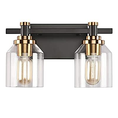 Create for Life 2-Light Bathroom Vanity Light,Industrial Wall Sconce Bathroom Lighting,Matte Black Finish,Brushed Gold Copper Accent Socket,Clear Glass Shade