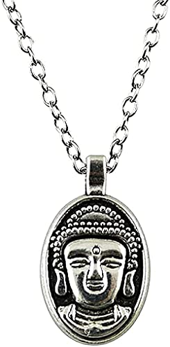 ZGYFJCH Co.,ltd Collar Collar de joyería para Mujer Collar 32x18 mm Color Plata Vieja con Colgante de Buda Regalo Femenino Collar Regalo
