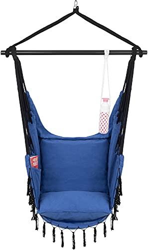 VITA5 Silla Colgante con 2 Cojines - Portavasos y Compartimento para Libros - Sillon Colgante XXL - Carga hasta 225 kg - Silla Hamaca Colgante para Interior y Exterior (jardín) (Azul)