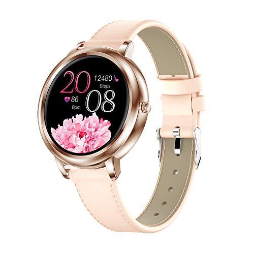 LZXMXR Reloj inteligente con pantalla de círculo completo, modo táctil completo, compatible con múltiples modos deportivos, mensaje personalizado, recordatorio sedentario de llamadas (color oro/cuero)