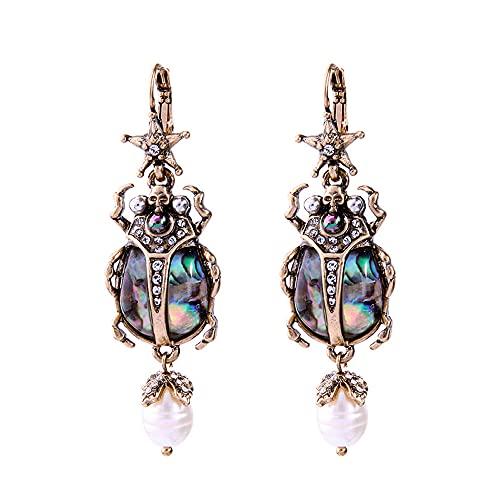 Nueva moda cultivada perla estrella insectos pendientes lindos declaración pendientes moda mujeres joyería brinco gota pendientes