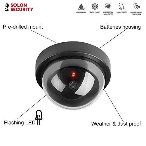 Dummy CCTV Kamera blinkende LED – Kuppelform gefälschte Überwachungskamera für den Außenbereich – Fake CCTV Dummy Kamera + gratis CCTV Schilder Outdoor – Decoy CCTV Kamera Outdoor, Schwarz , 2er-Pack
