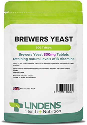 Lindens Brewers Yeast 300mg Tablets | 500 Pack | Natural Source of Vitamins & Micronutrients and Non-Debittered for Maximum Nutrition