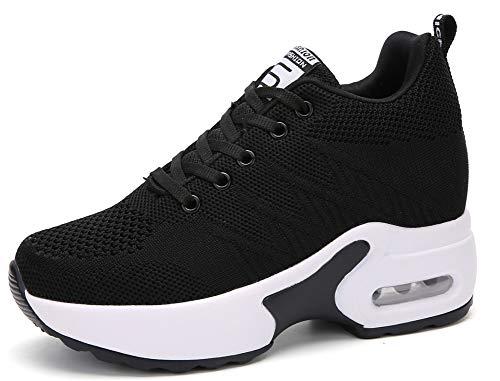 AONEGOLD Dames Sneakers Sleehak Lichtgewicht Sportschoenen Wedge Sneakers Casual Joggen Wandelen Schoenen Vrouw Sneakers Zwart -2 40 EU