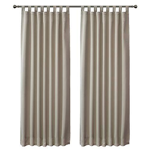 FLOWEROOM Blickdichte Vorhänge Verdunkelungsvorhänge mit Schlaufen für Schlafzimmer, 245x140cm (HxB), Beige - Thermogardine Gardinen/Lichtundurchlässige Vorhang Geräuschreduzierung, 2 Set