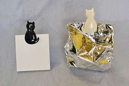 [冷蔵庫内使用可/お菓子などの袋とじに](猫型クリップ/食品保存/かわいい/白猫/黒猫)KK-4386個入