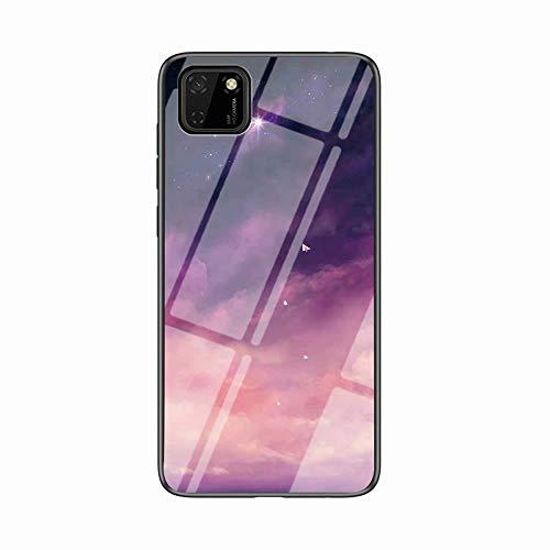 Miagon Glas Handyhülle für Huawei Y5P,Himmel Serie 9H Panzerglas Rückseite mit Weicher Silikon Rahmen Kratzresistent Bumper Hülle für Huawei Y5P,Rosa