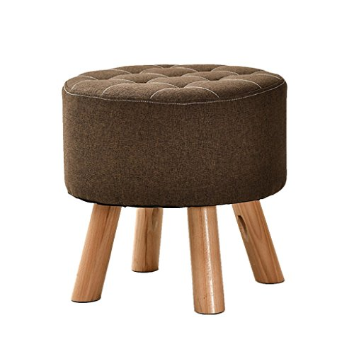 Poufs et repose-pieds Repose-pieds rembourré Tissu de haute qualité Luxe Ottoman Pouf ronde Salon Chambre (40cmx40cm) (Couleur : Brown)