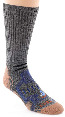Pro-Tect Copper & Merino Wool Hiking Crew Sock with Blister Protection, Moisture-Wicking, and Odor Control Made in the USA, X-Large, Grey/Blue, 1-Pair