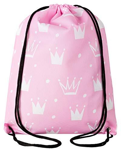 Aminata Kids - Kinder-Turnbeutel für Mädchen mit für Princess Königin König-s-Krone Tiara Prinzessin Sport-Tasche-n Gym-Bag Sport-Beutel-Tasche rosa Weiss