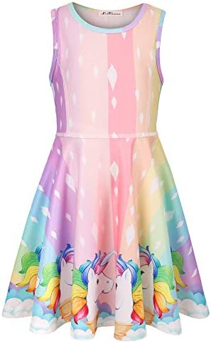 LaBeca Girls Party Casual Printed Twirly Sleeveless Dress Icecream Unicorn L product image