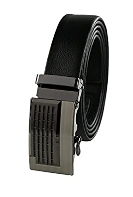 Men's Genuine Leather Ratchet Belt, Automatic Buckle, Business Collection by HBNY