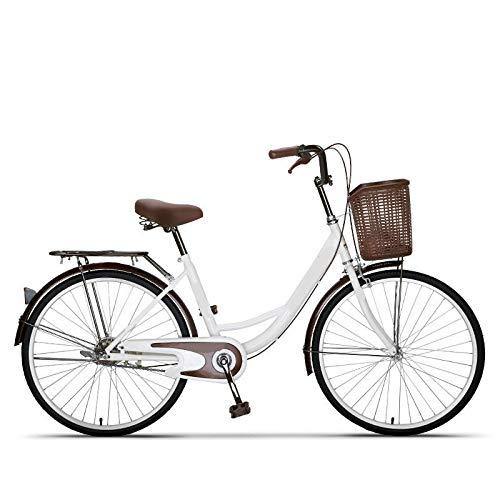Bicicleta De 24 '' 26 '', Bicicleta De Mujer Retro para Adultos Bicicleta para Estudiantes Bicicleta con Freno De Tambor Pink24inch