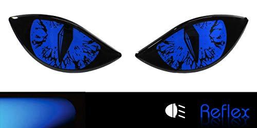 Bike Label 910068VA Reflektor-Aufkleber 3D Böse Augen Auto Motorrad Helm blau