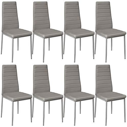 tectake 800881 8er Set Esszimmerstuhl, Kunstleder Stuhl mit hoher Rückenlehne, bis 150 kg belastbar, 41 x 45 x 98,5 cm (8X Grau | Nr. 404121)